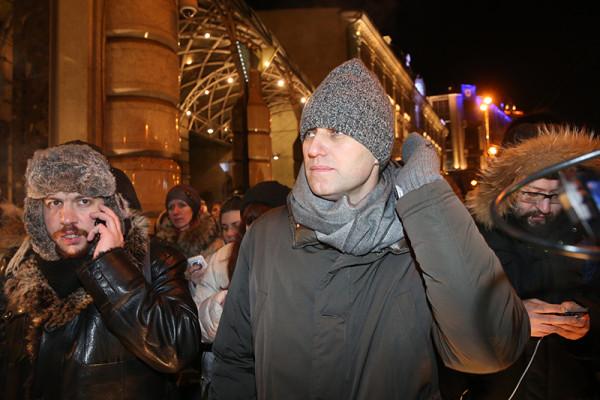 Акция сторонников братьев Навальных на Манежной площади в Москве