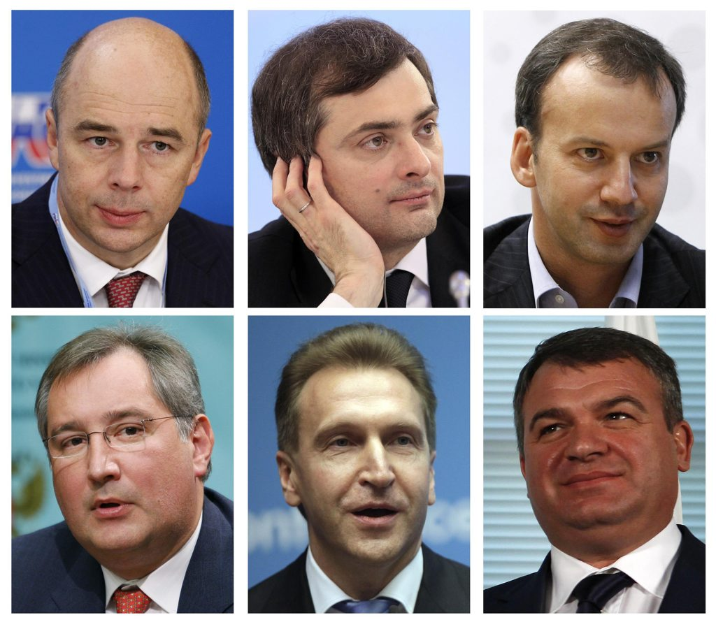 A combination photo shows key members of the new Russian government