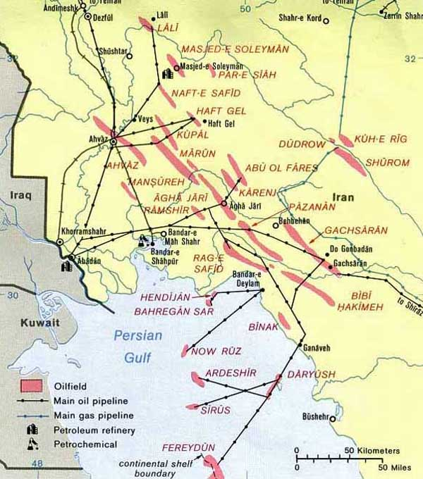 262 Iran South Western Oil Facilities Map