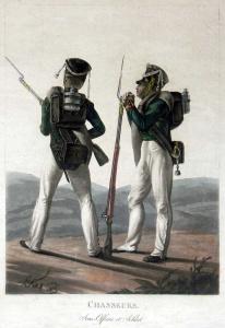 Егерь и унтер-офицер 6-го егерского полка. Автор: генерал-майор Лев Иванович Киль (1816)