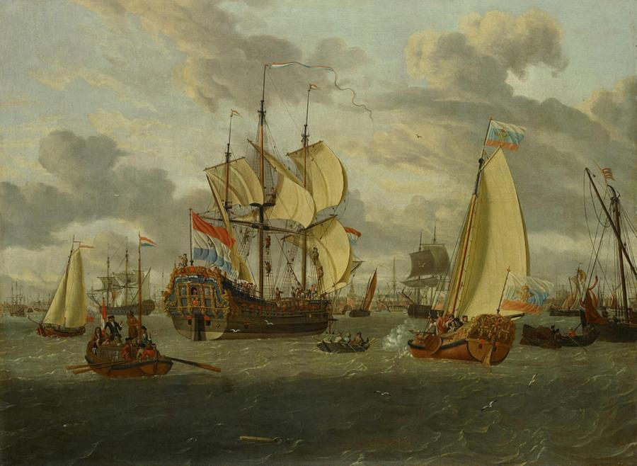"""Abraham Storck.(1644–1708). Czar Peter en route to the newly built fregate Peter and Paul (Петр I на яхте следует на новое судно """"Петр и Павел"""")."""