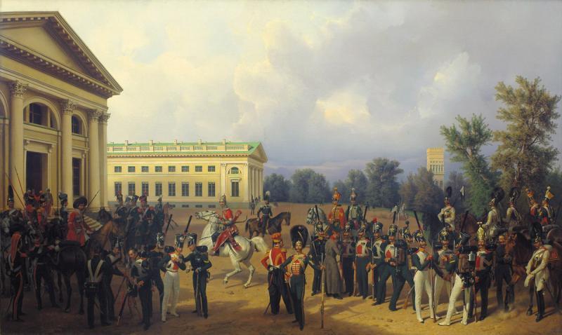 Франц Крюгер. Русская гвардия в Царском Селе в 1832 году. 1841.