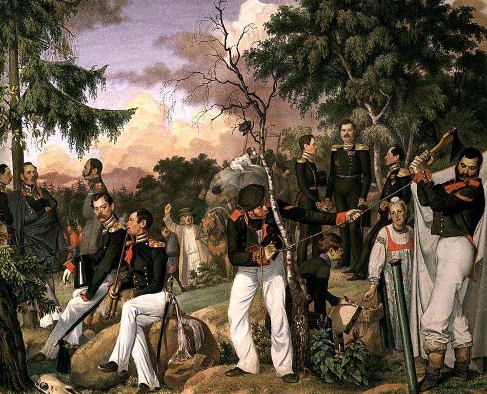 П.А. Федотов. Бивуак лейб-гвардии гренадерского полка. Установка офицерской палатки. Бумага, акварель. 1843 г.