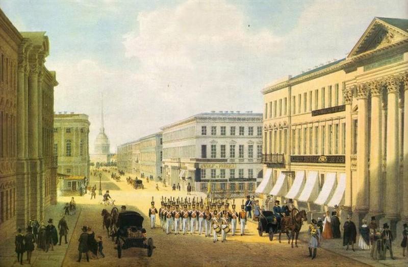 Невский проспект. Гравюра неизв. автора. Лето 1844 г.
