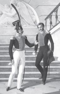 Штаб-офицер и обер-офицер Л.-гв. Литовского полка. Литография Л.А. Белоусова. 1832–1833 гг.