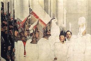 Освящение знамен в Зимнем дворце 26 марта 1839 г. (фрагмент). Худ. П.А. Федотов. 1839 г. (не окончен)