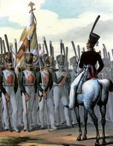 Адъютант и нижние чины Л.-гв. Измайловского полка, около 1828–1833 гг. Литография Л. Белоусова