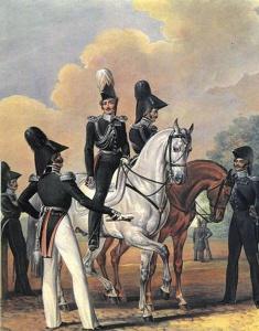 Офицеры гвардейских инженеров, гвардейского Генерального штаба и гвардейские адъютанты. Литография 1830-х гг.