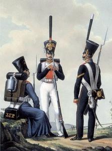 Рядовые и унтер-офицер Л.-гв. Семеновского полка. Литография ок. 1828–1833 гг.