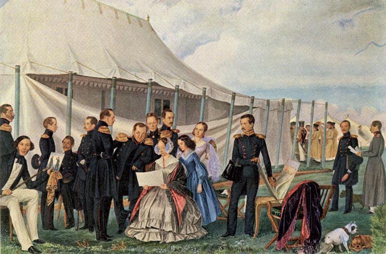 Командир Л.-гв. Финляндского полка А.С. Вяткин с семьей и офицерами в лагере под Красным Селом. Акв. П.А. Федотова. 1840 г.
