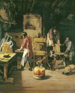 Плахов Лавр. «В столярной мастерской». 1845. Холст, масло. Государственная Третьяковская галерея