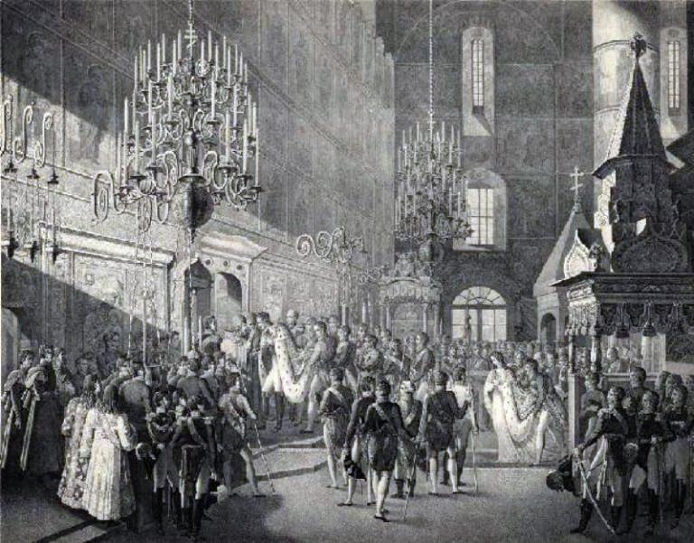 Таинство освящения во время венчания на царство императора Николая I в Успенском соборе Кремля 22 августа 1826 года.
