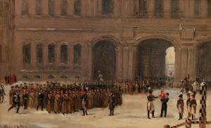 А. Ладюрнер. Приход к Зимнему дворцу 1-го батальона лейб-гвардии Преображенского полка 14 декабря 1825 года. 1852 г.