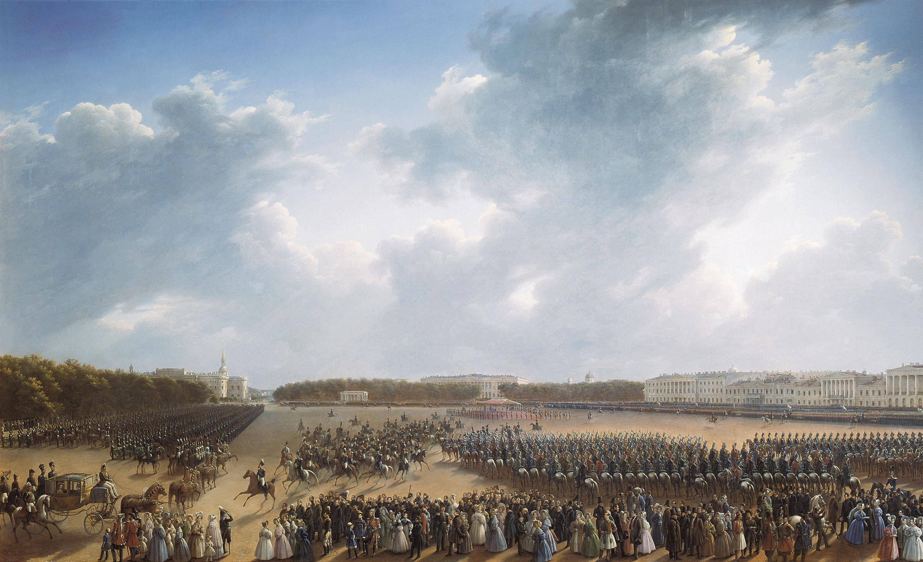 Парад на Царицыном лугу в 1831 г. Худ. Г. Чернецов. 1837 г.