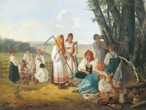 Плахов Лавр. Отдых на сенокосе. 1840-е