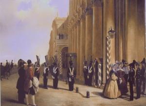 Смена часовых Л.-гв. Измайловского полка у Зимнего дворца. Худ. А. Ладюрнер. 1837 г.