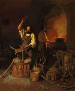 В кузнице. Художник Л.Плахов. 1845 г.