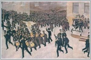Тронь А.А. Прибытие Гвардейского Экипажа на Сенатскую площадь.