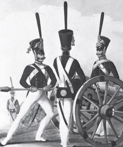 Бомбардир и канониры Л.-гв. 1-й артиллерийской бригады. Литография Л. Белоусова. Около 1828–1833 гг.