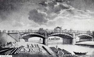 Мост в Любани. Дорога из Москвы в Петербург. Литография Шиффляра.