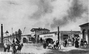 Московская застава в Петербурге. Гравюра Гобера. Россия в XIX веке.