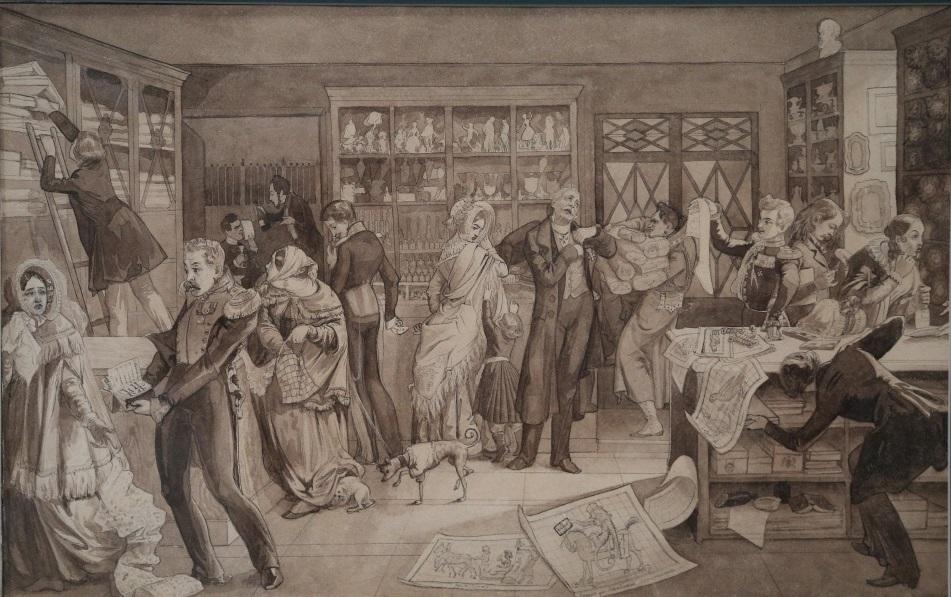 Магазин. П. Федотов. Бумага на картоне, сепия, кисть, перо. 1844 г.