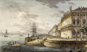 Вид на Зимний дворец со стороны Невы М. Н. Воробьев 1817 г.
