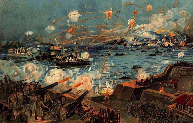 Бомбардировка крепости Порт-Артур. Русский плакат времён русско-японской войны.