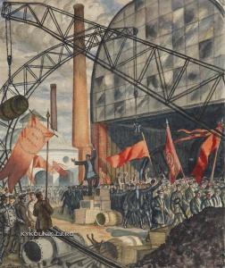 Кустодиев Борис Михайлович (1878-1927) «Пролетарии всех стран соединяйтесь» 1923