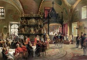 Маковский К.Е. Высочайший обеденный стол в Грановитой палате