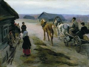 Степанов. Приезд учительницы. Художник Степанов Алексей Степанович (1858-1923)