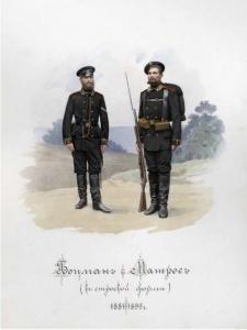 Боцман и матрос (в строевой форме). 1881–1892 гг