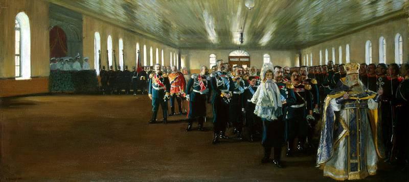 Церковный парад лейб-гвардии Финляндского полка, Кустодиев Борис Михайлович