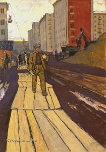 Шепелев Лев Викторович (Россия, 1937) «Монтажники» 1965