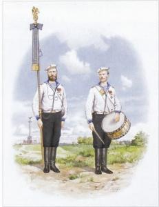 А.А. Тронь. Боцман и барабанщик Гвардейского экипажа. 1912 год. 2002 г., бумага, акварель.