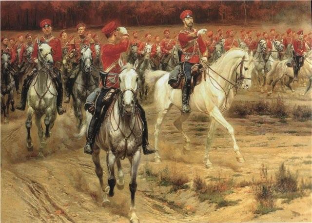 Детайль, Жан Батист Эдуард. Царь Николай II командует маневром. 1900.