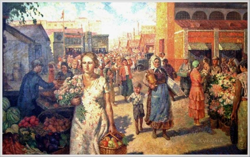 Кокель Алексей Афанасьевич (Россия, 1880-1956) «Колхозный базар» 1934