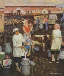 Степанов Иван Григорьевич (Россия, 1934) «Трудовой семестр. На ферме» 1955