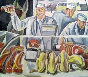 Жаренова Элеонора Александровна (Россия, 1934) «Продавцы мяса» 1960