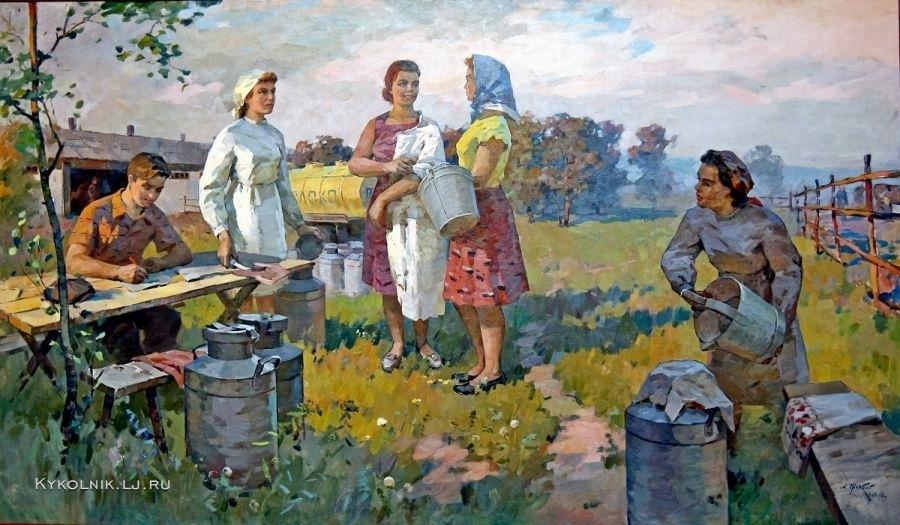 Журбий Александр Петрович (Украина, 1926-2005) «Доярки» 1967