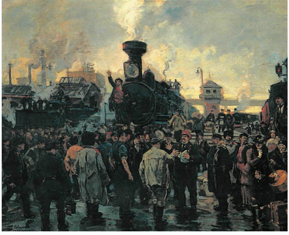 Всеобщая железнодорожная забастовка в октябре 1905 г. Художник Г. К. Савицкий