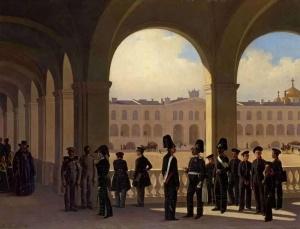 Двор военного училища в Санкт-Петербурге. 1850. Ладюрнер (Ладурнер) Адольф Игнатьевич