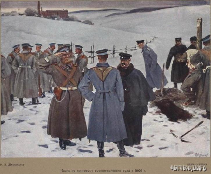 Казнь по приговору военно-полевого суда в 1906 году. Шестопалов Н.И.
