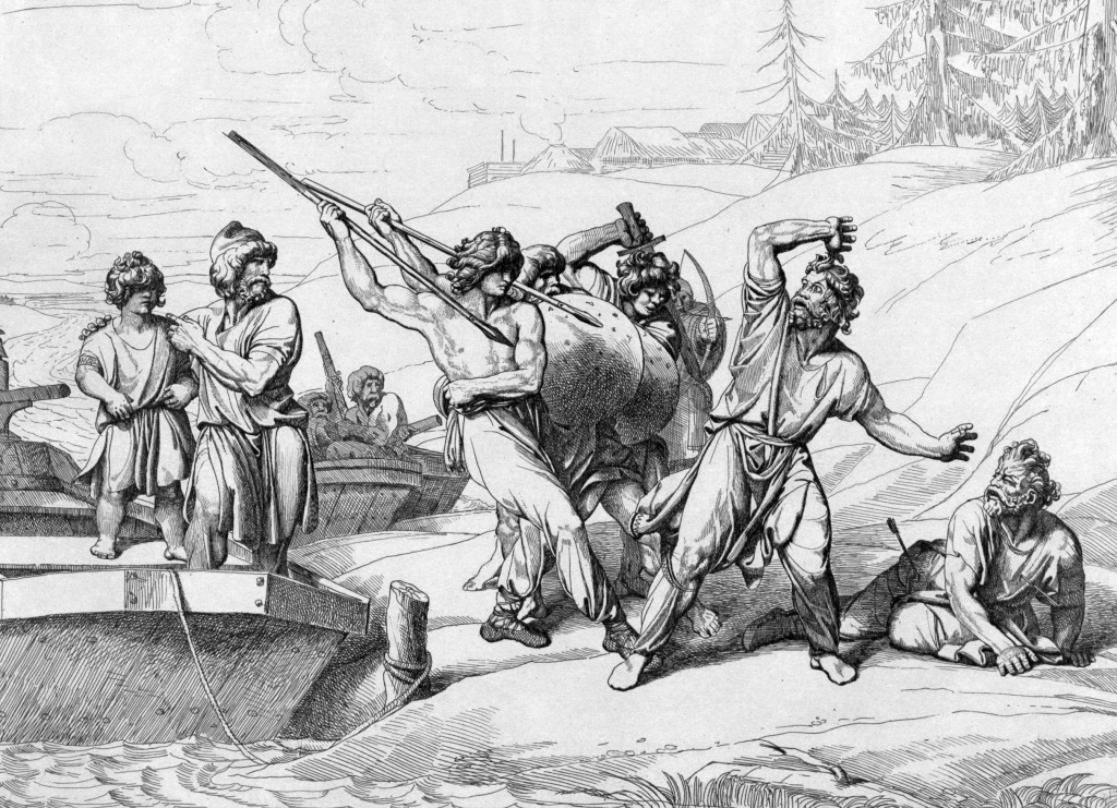 Смерть Аскольда и Дира. Гравюра Ф. А. Бруни, 1839.
