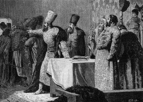 Боярские распри. Детство Ивана IV. Гравюра XIX в