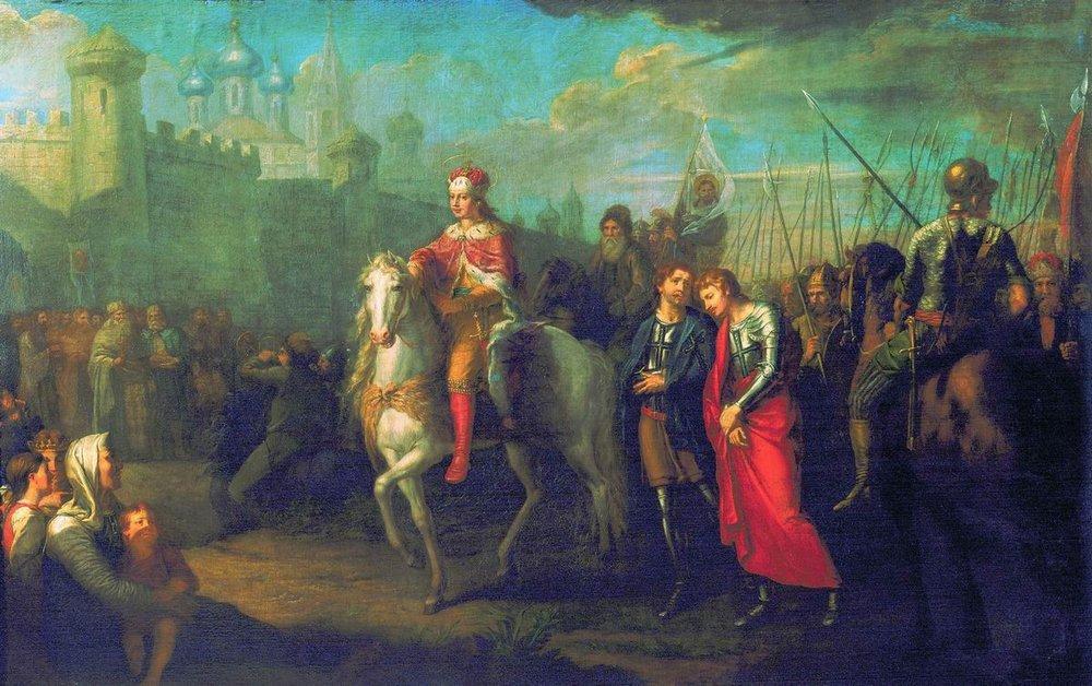 Г.И. Угрюмов. Торжественный въезд Александра Невского в город Псков после одержанной им победы над немцами.