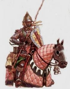 Тяжеловооружённый знатный конный копейщик (представитель старшей дружины, 1 линия боевого построения). Комплекс вооружения русских дружинников 13-14 веков