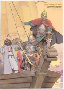 Киевские воины: 10—11 века н.э. 1. Командир княжеской армии. 2. Воин старшой дружины. 3. Городской ополченец.
