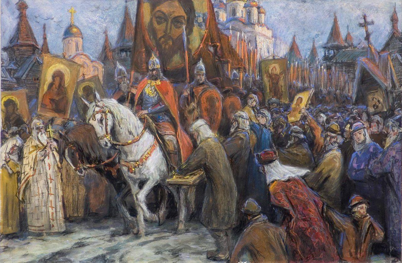 Лебедев К.В. Вече в Новгороде. 1917 г.