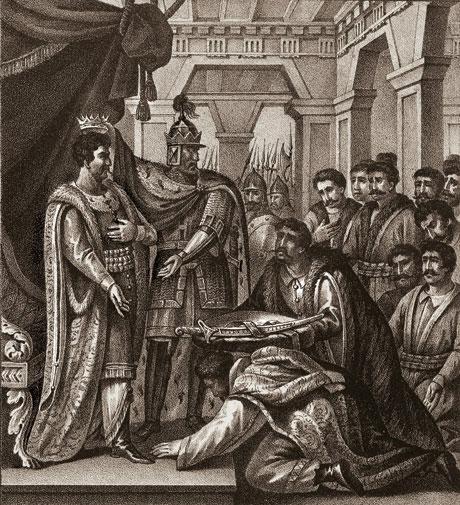 Великий князь Мстислав дает полочанам в князья Рогволда. 1128 г. Гравюра Б. Чорикова